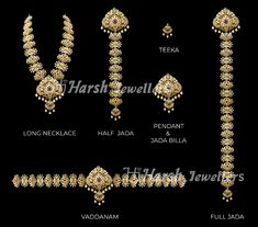 1 Gram Gold Jewellery, Silver Jewellery Indian, Gold Jewellery Design, Temple Jewellery, Gold Jewelry, Vaddanam Designs, Gold Mangalsutra Designs, Gold Hair Accessories, Gold Ornaments