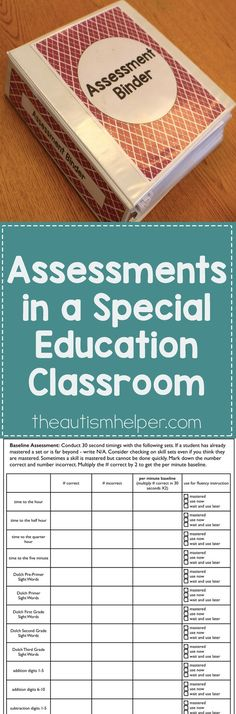 Learn how to create a system for organizing your assessments now so you can have data at the start of the year & get at true baseline of skills you'll need to work on! From theautismhelper.com