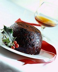 Traditional Christmas Pudding ready for flaming