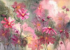 Akwarela kwiaty obraz - ŁĄKI I OGRODY (5708660099) - Allegro.pl - Więcej niż aukcje.