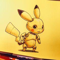pikachu,pokemon-Pikabotpikabot pikachu pokemon pokeart Draw Drawing Art Fanart Artist Illustration Design sketch doodle tattoo A Robot Animal, Graffiti, Arte Robot, Cool Robots, Robot Concept Art, Copics, Character Concept, 3d Character, Art Reference