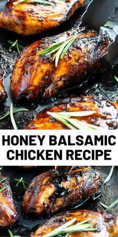 Honey Balsamic Chicken starts with a simple marinade of tangy balsamic vinegar and sweet honey and is then topped with a delightful balsamic glaze. Honey Balsamic Chicken, Balsamic Chicken Recipes, Quick Chicken Recipes, Turkey Recipes, How To Cook Chicken, Meat Recipes, Dinner Recipes, Cooking Recipes, Balsamic Vinegar