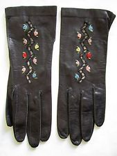 VTG A. MANCO LADIES BLACK KID LEATHER GLOVES W/ CUTOUTS AND EMBROIDERED FLOWERS