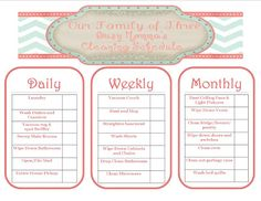 Free cleaning schedule printable from Our Family of Three!