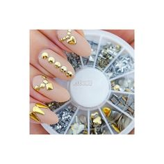 [USD $ 3.99] - 240PCS Nail Art Golden Mixed Rivet Shapes Acrylic... (2.800 CLP) ❤ liked on Polyvore featuring jewelry, nails, acrylic jewelry, rivets for jewelry, vintage rhinestone jewelry, womens jewellery and rivet jewelry