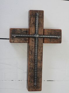 Wood Cross with Rebar Cross by steelwoodandfireshop on Etsy
