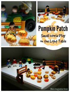 Pumpkin Patch Small World on the Light Table! Great fall pretend play for preschool! Fun both on and off the light table!