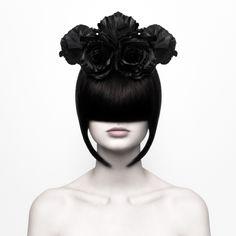 "[MUST CLICK AND ENLARGE IMAGE TO APPRECIATE THE RESOLUTION] ""BLACK WIDOW"" —  Photographer: Martina Nemčeková Headband: Flowers & MOHR Makeup/Model: Silvia Repova"