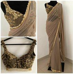Indian Fashion Dresses, Indian Designer Outfits, Indian Outfits, Designer Dresses, Indian Clothes, Designer Sarees, Sari Blouse Designs, Saree Blouse Patterns, Golden Blouse Designs