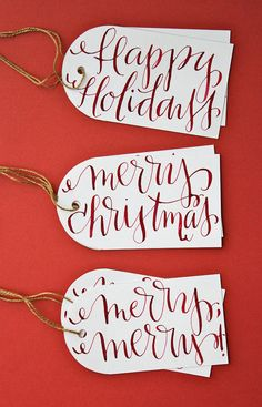 HandLettered holiday gift tags by memedavis on Etsy