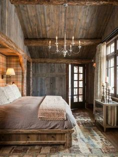 21 Rustic Living Room Furniture Ideas to Warm Up Your Home - The Trending House Cabin Homes, Log Homes, Cozy Bedroom, Bedroom Decor, Bedroom Ideas, Bedroom Rustic, Bedroom Furniture, Lodge Bedroom, Design Bedroom