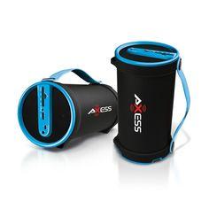 Axess Portable Bluetooth 2.1 Hi-Fi Cylinder Speaker w/SD Card, AUX & FM Inputs, 4 Sub.-Blue #SPBT1033-BL