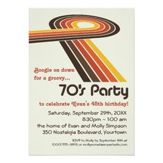 70 s party invitations printable 1970s theme party invitation