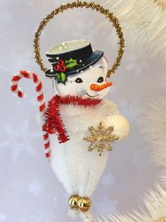 Vintage Snowman Christmas Chenille Ornament Feather Tree