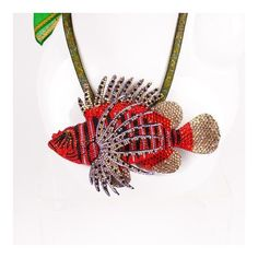 Swarovski Lionfish Pendant Necklace ❤ liked on Polyvore featuring jewelry, necklaces, pendant necklaces, swarovski crystal jewelry, clasp necklace, mesh necklace and swarovski crystal pendant necklace