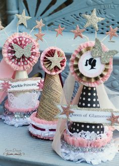 Pattern for gorgeous and glamorous DIY party hats! Requires no sewing!