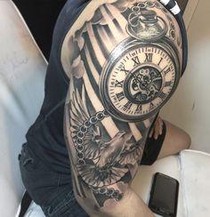 And we got loads more! Clock Tattoo Sleeve, Portrait Tattoo Sleeve, Arm Sleeve Tattoos, Tattoo Sleeve Designs, Maori Tattoos, Tribal Tattoos, Tattos, Mens Tattoos, Turtle Tattoos