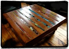 I love this idea. Most pallet coffee tables look kind of junky, but this one has an inlay of mosaic. Artsy! via État second
