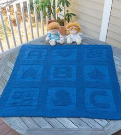 Free knitting pattern for ABC Baby Blanket