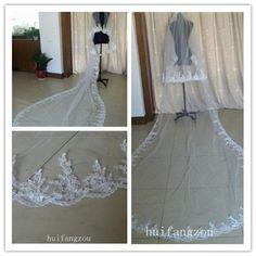 New Stylish White Cathedral 2 Tier Bridal Wedding Veil Lace Purfles Custom 3 M | eBay
