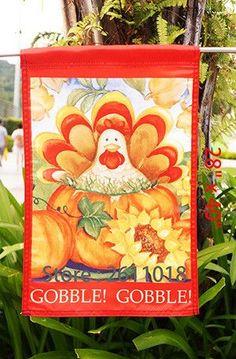 "Autumn Turkey - Decorative Thanksgiving Fall Holiday Pumpkin Garden Flag - ""18"" x 12.5 ""x 28 to 40 inches"