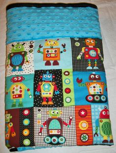 Super Cute and Fun Robot Baby Quilt with Blue Dot by rachelkay, $45.00