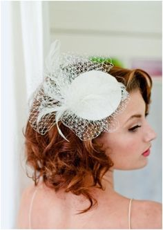 Bridal Hat, birdcage veil fascinator, bridal mini hat, made from a Dupioni silk wrapped buckram hat base, Russian veiling, goose, ostrich, and rooster feathers. This piece attaches to the hair with a silver alligator clip for secure hold and easy placement!