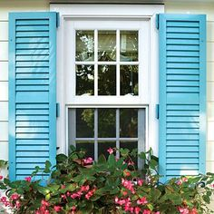 Hardworking Windows - SL Home Awards: Best Exterior Makeover - Southern Living Window Shutters Exterior, Louvered Shutters, Black Shutters, Wood Shutters, Exterior Paint, Exterior Doors, Hanging Window Boxes, Bermuda Shutters, Historical Concepts