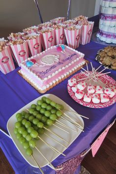grape shish kabobs. marshmallow pops with sprinkles. popcorn covered with candy melts. elephant baby shower. bollywood princess baby shower