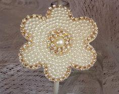 Tiara flor de pérolas