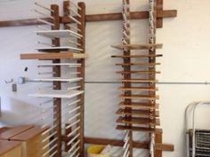 Cabinet door on drying racks.
