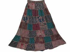 Amazon.com: Boho Maxi Skirts Vintage Sari Floral Patchwork Gypsy Skirt: Clothing