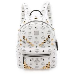 MCM M Stud Small Stark Backpack ($805) ❤ liked on Polyvore featuring bags, backpacks, mcm, mochila, white, monogrammed backpacks, logo backpacks, backpack, mcm backpack and monogrammed bags