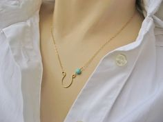 Horseshoe Necklace, 14k Gold Fill or 925 Sterling Silver, Turquoise Necklace, Bridesmaid Gift, Lucky Jewelry, Handcrafted Horseshoe Necklace