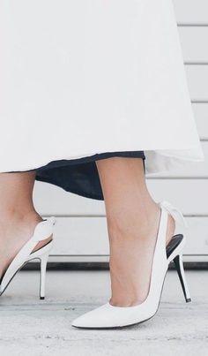 #summer #trending #shoes | White Sling Back Heels