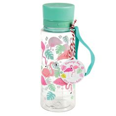 Flamingo Bay Water Bottle - £10  BPA free plastic water bottle with a strap to attach it to backpacks. 600ml.