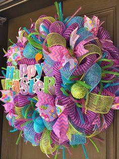 Deluxe Happy Easter Deco Mesh Wreath By DzinerDoorz On Etsy
