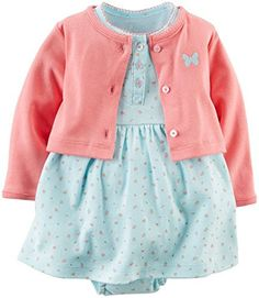 Carter's Baby Girls' 2 Piece Floral Dress Set (Baby) - Light Blue - 12M