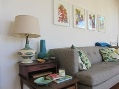 Mid-century modern pieces look fresh with bright white walls and graphic art in white frames