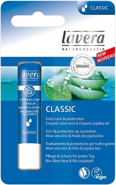 Lavera Lip Balm Classic Organic aloe vera & Organic jojoba oil. Daily care & protection. Lavera Classic Lip Balm with organic aloe vera and organic jojoba oil maintains the lips' moisture balance and keeps the lips from drying out. Ideal for daily use - for naturally beautiful and well cared for lips. Made with organic ingredients. NATRUE Certified. #Eczema #Vegan #LipBalm