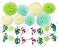 Big Kit Luau Party Hawaiian Decorations Pom Poms Paper Colorful Leaves Flamingo #Wcaro #LuauBeachParty