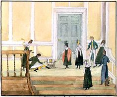 "Playing around with static electricity -- watercolor by Diana Sperling, 1817 or 1818. -- Caption: ""May 25th. Henry Van [Hagen] electrifying -- Mrs. Van, Diana, Isabella, Harry, Isabella, Mum and HGS. Dynes Hall."" http://www.uvm.edu/~hag/regency/dancing-images.htm"