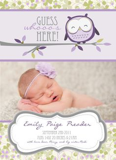 Cute Owl Birth Announcement-Digital File Only Newborn Announcement, Purple Owl, Perfume, Baby Owls, Cute Owl, Having A Baby, Baby Decor, Shower Invitations, Birth