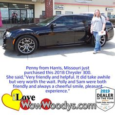 It was a very special day for Penny, she purchased a super luxurious Chrysler 300. Congratulations! 🎉 #wow #wowwoodys #woodysautomotive #cars #trucks #suvs #carsforsale #trucksforsale #suvsforsale #kansascity #chillicothe #customerreviews #customertestimonials #wowcarbuying #carshopping #happycustomers #2018chrysler300 #2018chrysler #chrysler300 #chrysler #300