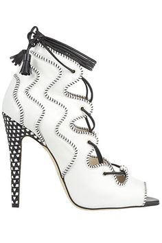 See roundup of Brian Atwood heels worth the steep prices. Make a head-turning statement in Brian Atwood's latest heels. Stiletto Heels, High Heels, Brian Atwood Shoes, Black And White Shoes, White Lace, Designer Heels, Lace Up Sandals, Fashion Heels, Dream Shoes