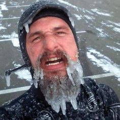 Or this man who is practically morphing into an icicle before your very eyes.