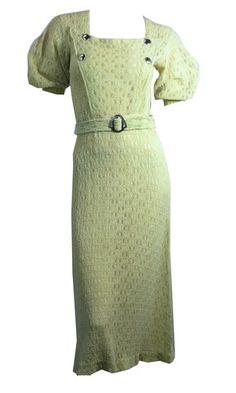 Fiddlehead Green Knit Puff Sleeve Belted Dress circa 1930s - Dorothea's Closet Vintage