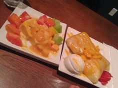 Mango Crepe and Mango pudding dessert