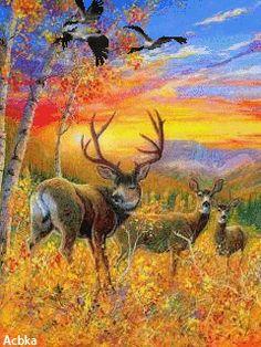 DIY Diamond Mosaic Deer Full Diamond Painting Cross Stitch Kits Embroidery Sunrise Scenery Antumn Landscape Home Decoration Gif Photo, Autumn Scenery, Fall Is Here, Animation, Gif Animé, Cross Paintings, Wildlife Art, Bambi, Pet Birds