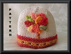 Knitting Pattern for Baby BeanieChildren por CottonPickings en Etsy, $4.99